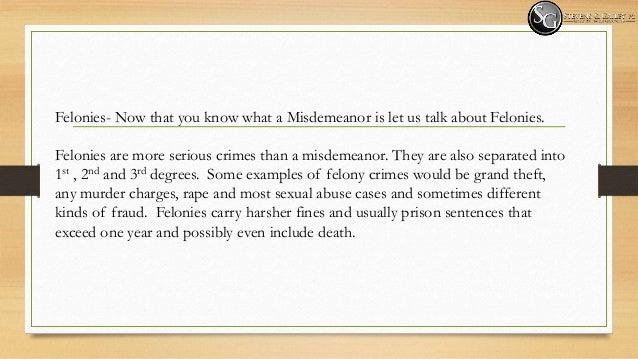 felonies vs misdemeanor