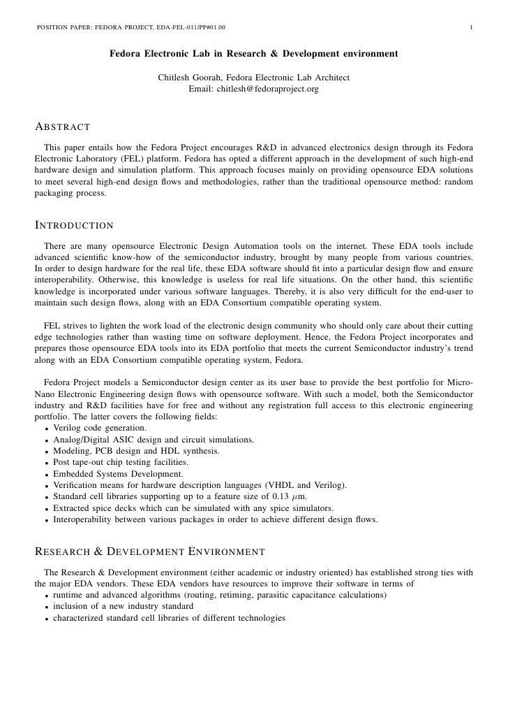POSITION PAPER: FEDORA PROJECT, EDA-FEL-011/PP#01.00                                                              1       ...