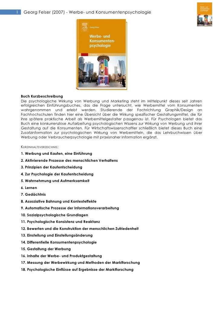 1    Georg Felser (2007) - Werbe- und Konsumentenpsychologie    Buch Kurzbeschreibung    Die psychologische Wirkung von We...