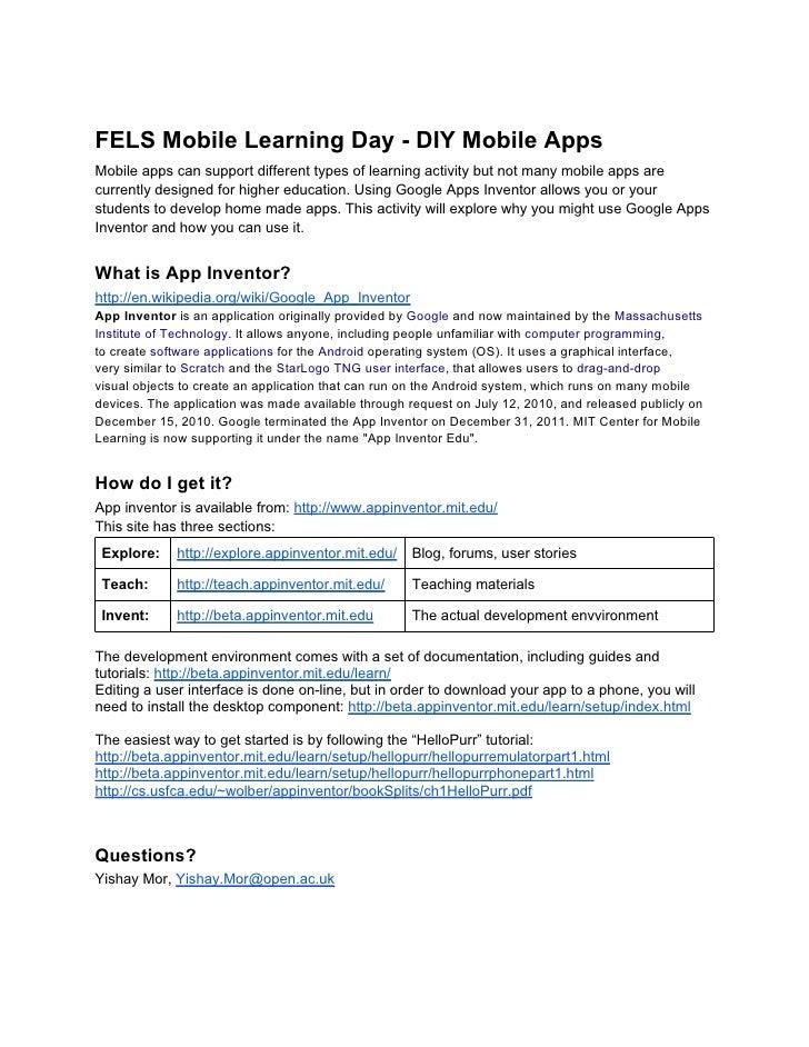 Fels mobile learningday-diymobileapps