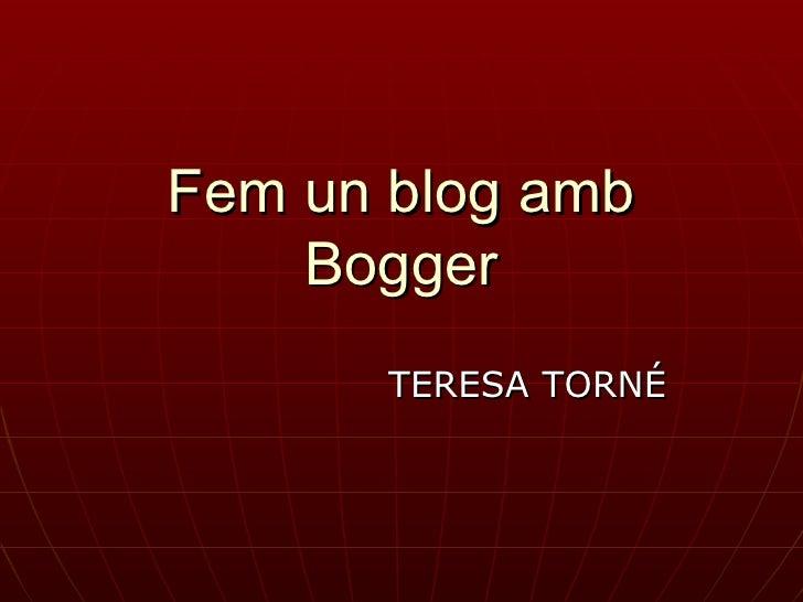 Fem un blog amb Bogger TERESA TORNÉ