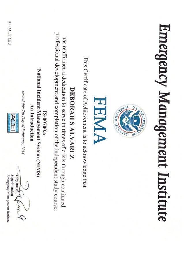 Fema Certification 1 5