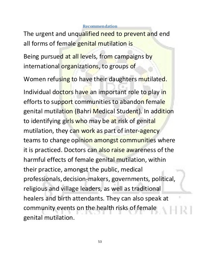 a student essay on the long term psychological effects of female genital mutilation Free essay: female genital mutilation: long term psychological effects the psychology department the final paper dr f cramer presented by: tim abbas id #.