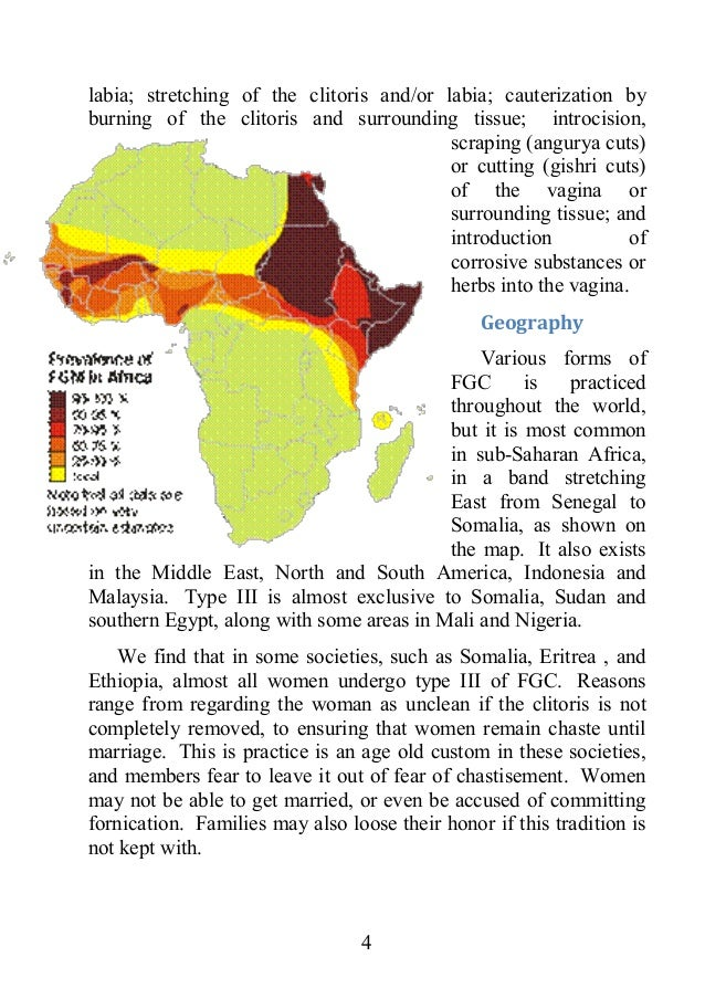 female circumcision 4 essay Related essays: breast ironing in cameroon breast ironing in cameroon sexual mutilations have a long and controversial history sexual mutilations include a diverse variety of practices, including male circumcision, breast removal, clitorectomy, female genital mutilations, castration.