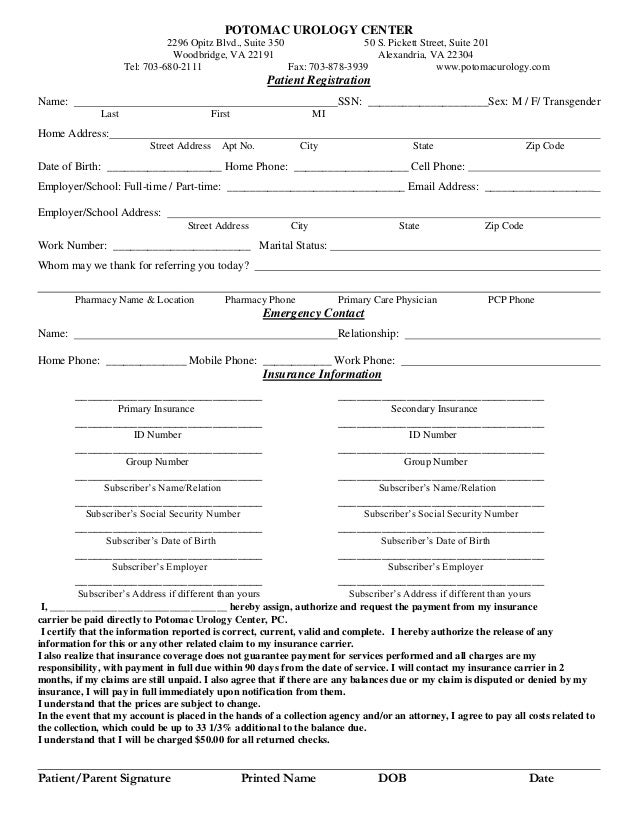 Female patient registration form female patient registration form potomac urology center 2296 opitz blvd suite 350 50 s pickett street thecheapjerseys Gallery