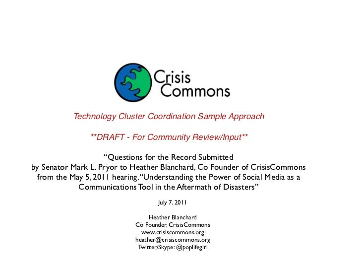 """Technology Cluster Coordination Sample Approach                **DRAFT - For Community Review/Input**                    """"..."""