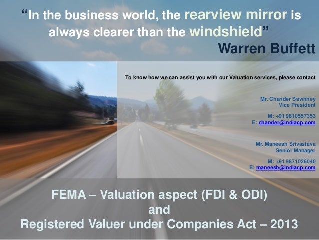 """Due Diligence, Legal and Regulatory Valuation aspects """"In the business world, the rearview mirror is always clearer than t..."""