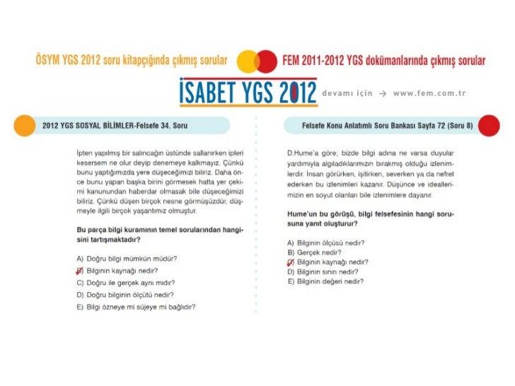 ÖSYM 2012 YGS Felsefe Soruları