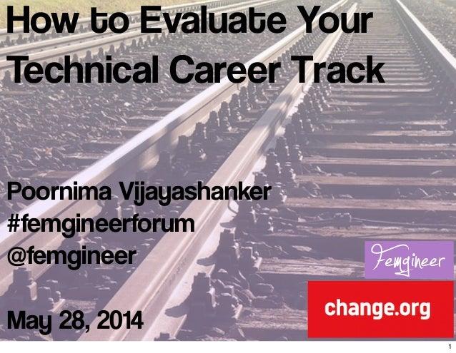How to Evaluate Your Technical Career Track Poornima Vijayashanker #femgineerforum @femgineer May 28, 2014 1