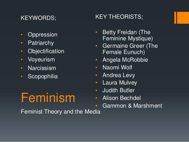 Feminism Feminist Theory and the Media KEYWORDS; • Oppression • Patriarchy • Objectification • Voyeurism • Narcissism • Sc...