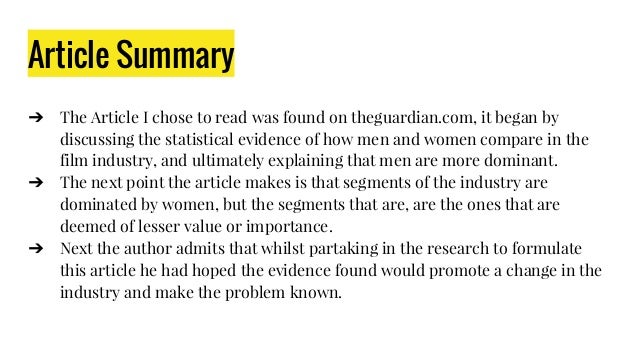 Article Summary ➔ The Article I chose to read was found on theguardian.com, it began by discussing the statistical evidenc...