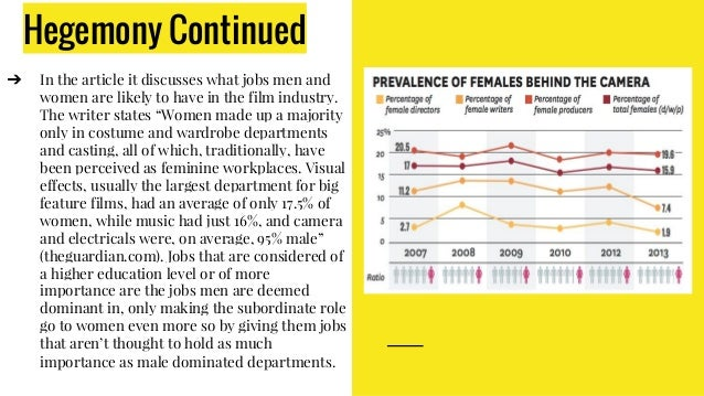 Hegemony Continued ➔ In the article it discusses what jobs men and women are likely to have in the film industry. The writ...
