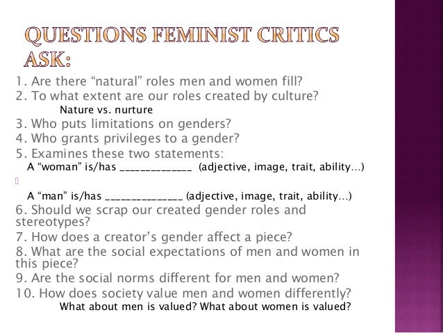 feminist criticism Feminist gender theory summary – margaret simmonds – summer 2012 page 3 of 10 penis) so maybe no one is truly intersexed, but we are all, in our infinite.