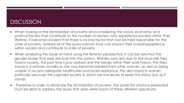 feminization of poverty  11 discussion  when looking at the feminization of poverty