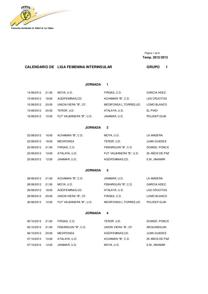 Página 1 de 6                                                                              Temp. 2012/2013CALENDARIO DE LI...