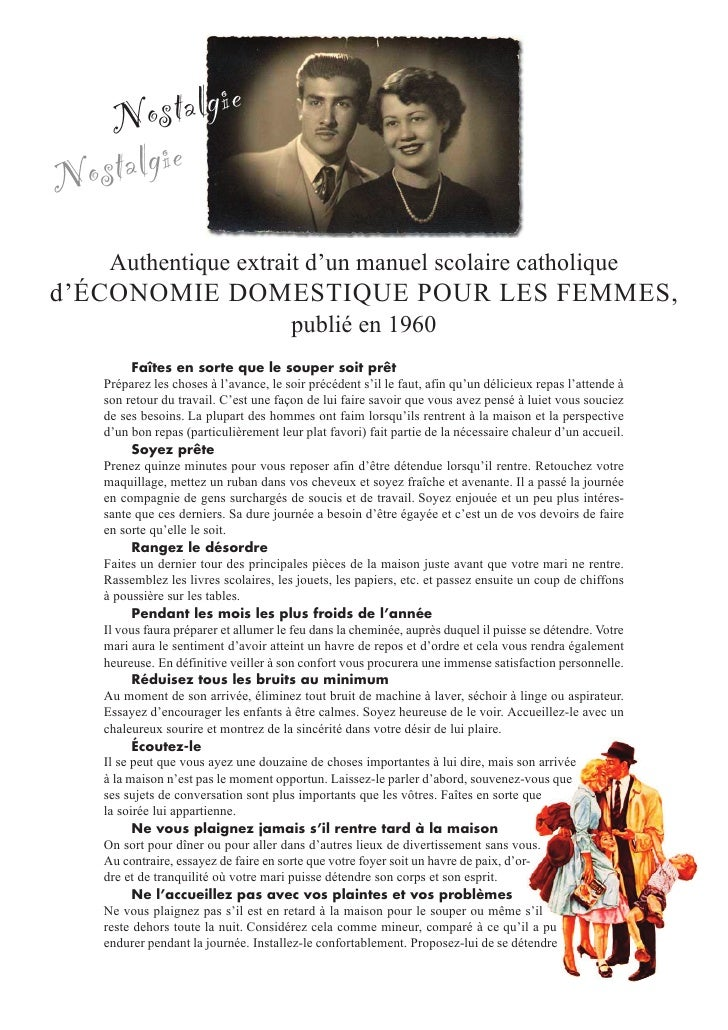 1960 manuel de bonne conduite pour la femme for Femme au foyer 1960