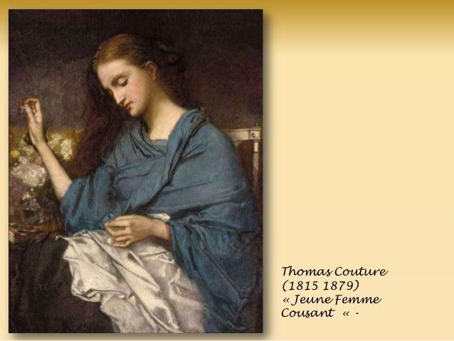 Thomas Couture (1815 1879) « Jeune Femme Cousant « -