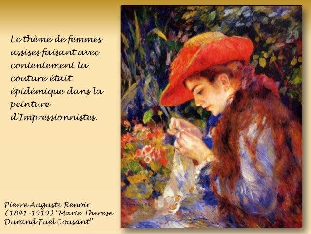 Pierre Auguste Renoir (1841-1919) ―Marie Therese Durand Fuel Cousant‖ Le thème de femmes assises faisant avec contentement...