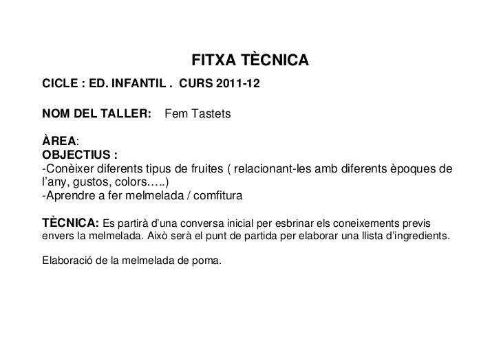 FITXA TÈCNICACICLE : ED. INFANTIL . CURS 2011-12NOM DEL TALLER:           Fem TastetsÀREA:OBJECTIUS :-Conèixer diferents t...