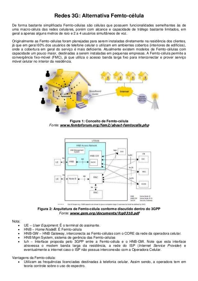 Redes 3G: Alternativa Femto-célulaDe forma bastante simplificada Femto-células são células que possuem funcionalidades sem...