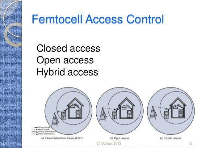 Femtocell Access Control Closed access Open access Hybrid access  25 October 2013  12