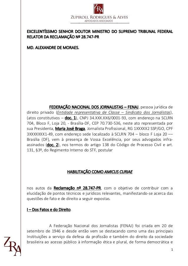 __________________________________ 1 EXCELENTÍSSIMO SENHOR DOUTOR MINISTRO DO SUPREMO TRIBUNAL FEDERAL RELATOR DA RECLAMAÇ...