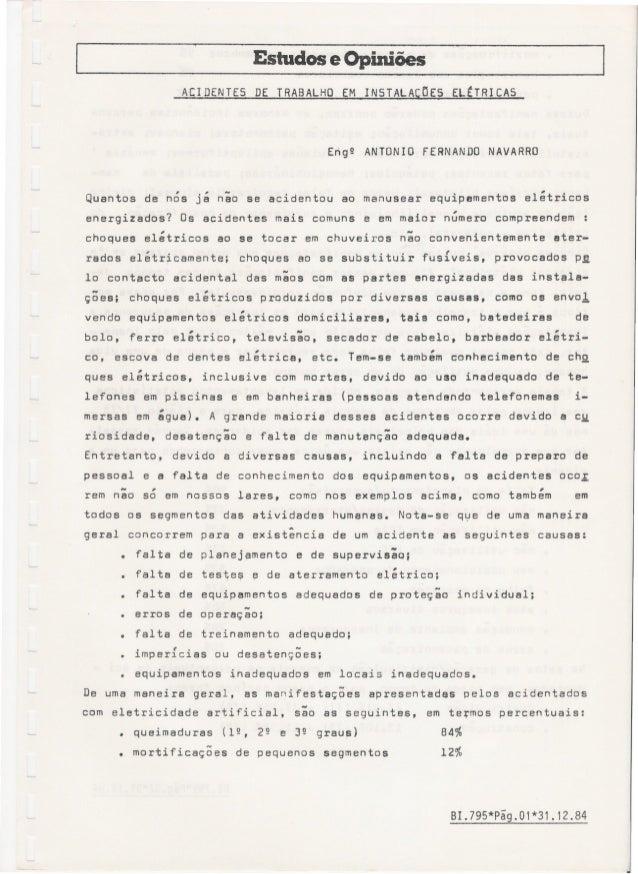 Estudos e Opiniões ACIDENTES DE TRABALHO EM INSTALACOES ELtTRICAS Enge ANTONIO FERNANDO NAVARRO , , _ . i/I . Quantos de n...