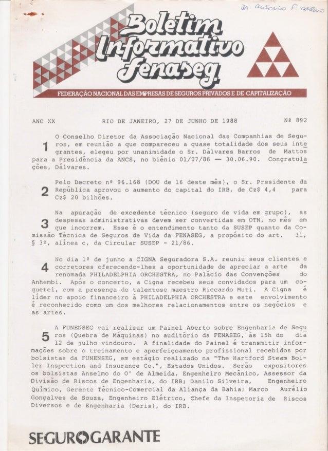 ANO XX  RIO DE JANEIRO,  N2 892  27 DE JUNHO DE 1988  O Conselho Diretor da Associação Nacional das Companhias de Seguros,...