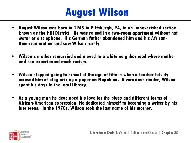 "essay questions for fences by august wilson August wilson's 1990 spin essay on fences: ""i don't want to hire  the ideas of  ability and qualification are certainly not new to blacks."
