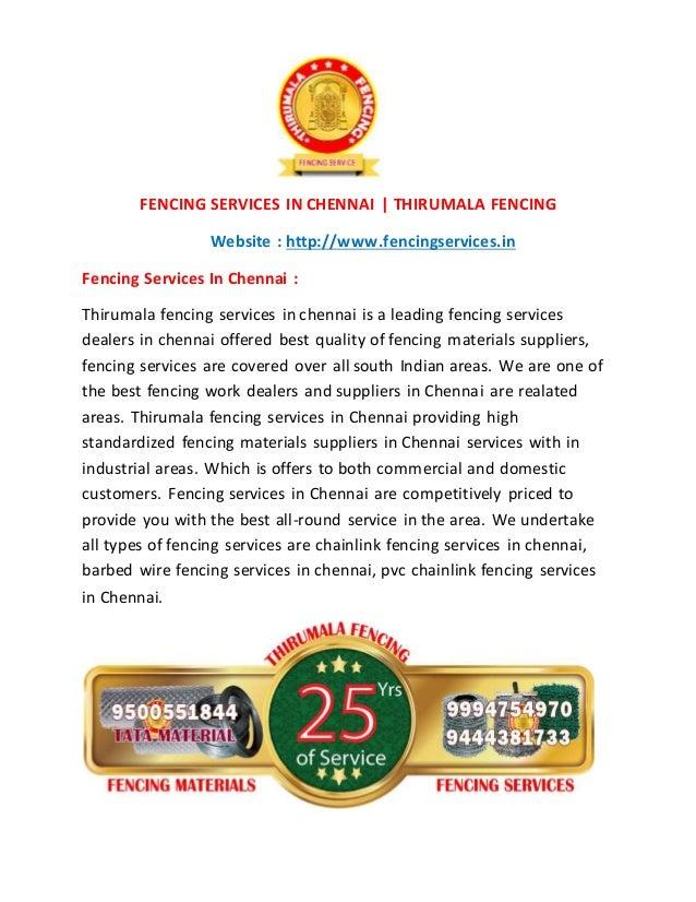 FENCING SERVICES IN CHENNAI | THIRUMALA FENCING Website : http://www.fencingservices.in Fencing Services In Chennai : Thir...