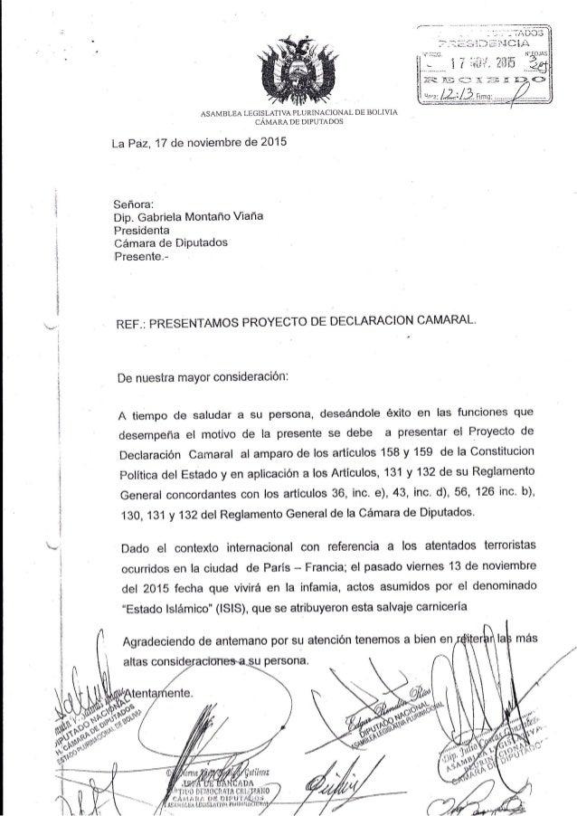 ASAMBLEA LEG]SLAI'IVA PT-IJRINAC1ONAL DE BOLIVIA CAMARADE DlPUTADOS La?á2,17 de novlembre de 2015 Señora: Dip. Gabriela Mo...