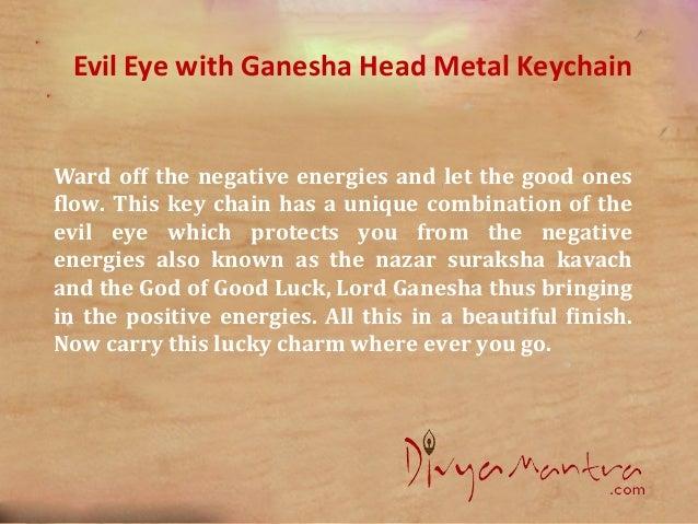 Feng shui evil eye with ganesha head metal keychain