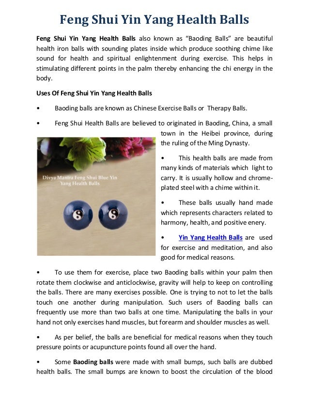 Feng shui health balls for Feng shui for health