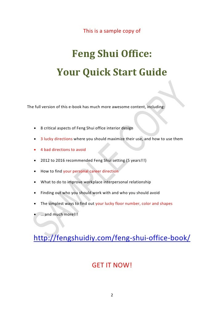 feng shui in the office. SAMPLE COPY; 2. This Is A Sample Copy Of Feng Shui Office: In The Office C
