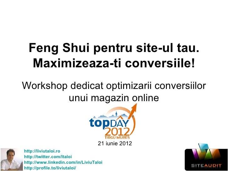 Feng Shui pentru site-ul tau.   Maximizeaza-ti conversiile!Workshop dedicat optimizarii conversiilor        unui magazin o...