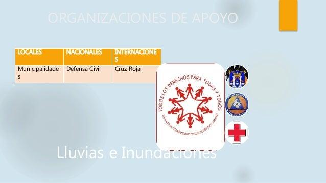 ORGANIZACIONES DE APOYO LOCALES NACIONALES INTERNACIONE S Municipalidade s Defensa Civil Cruz Roja Lluvias e Inundaciones