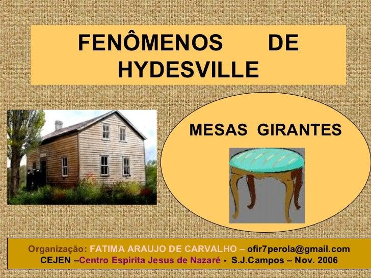 FENÔMENOS  DE HYDESVILLE MESAS  GIRANTES Organização:   FATIMA ARAUJO DE CARVALHO –  [email_address] CEJEN – Centro Espíri...