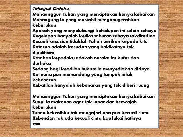 Puisi Tahajud Cinta Karya Emha Ainun Najib Kt Puisi
