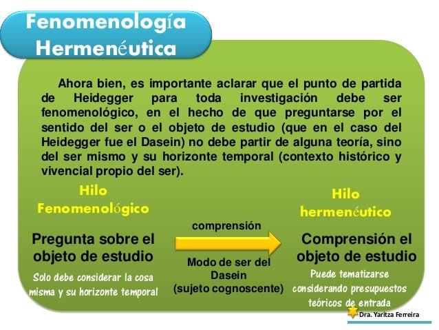 Fenomenología Hermenéutica Dra. Yaritza Ferreira Ahora bien, es importante aclarar que el punto de partida de Heidegger pa...