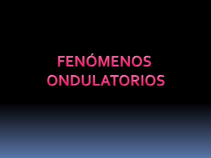 FENÓMENOS <br />ONDULATORIOS<br />