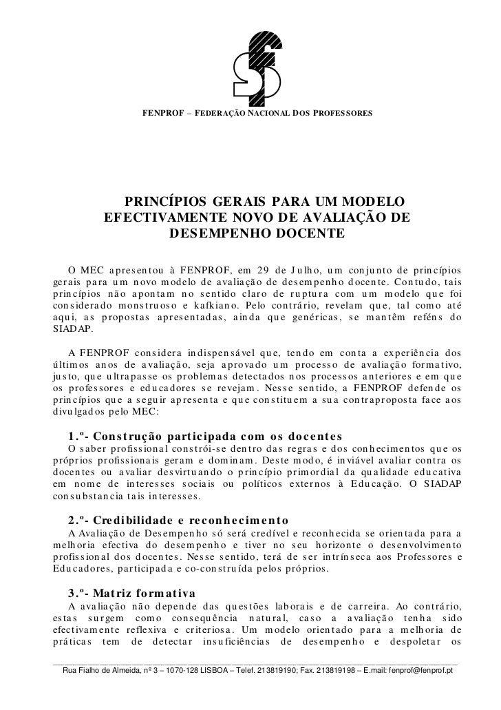 FENPROF – F EDERAÇÃO NACIONAL D OS P ROFESSORES                   PRINCÍPIOS GERAIS PARA UM MODELO                 EFECTIV...