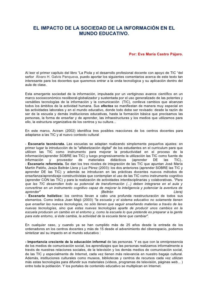 EL IMPACTO DE LA SOCIEDAD DE LA INFORMACIÓN EN EL                      MUNDO EDUCATIVO.                                   ...