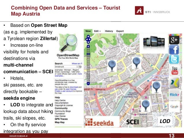 www.sti-innsbruck.at Combining Open Data and Services – Tourist Map Austria 13 • Based on Open Street Map (as e.g. impleme...