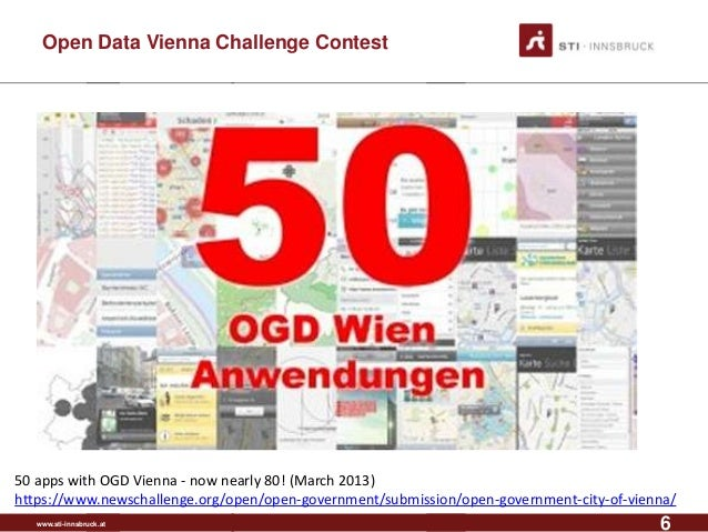 www.sti-innsbruck.at Open Data Vienna Challenge Contest 6 50 apps with OGD Vienna - now nearly 80! (March 2013) https://ww...