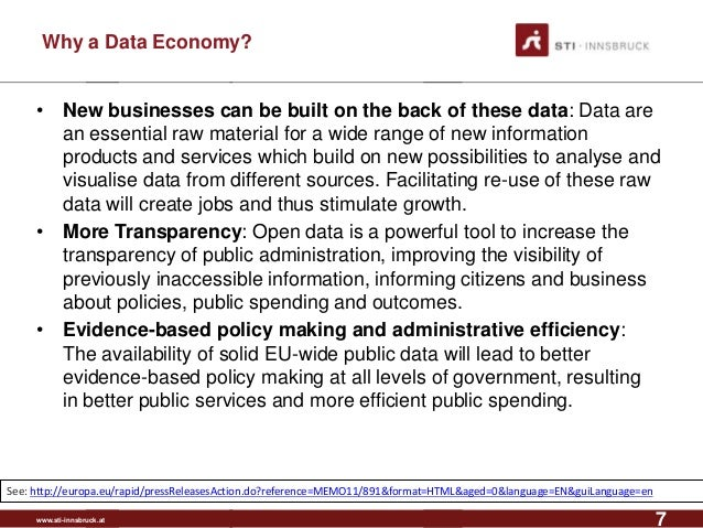www.sti-innsbruck.at Why a Data Economy? • New businesses can be built on the back of these data: Data are an essential ra...