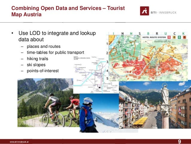 www.sti-innsbruck.at Combining Open Data and Services – Tourist Map Austria • Use LOD to integrate and lookup data about –...