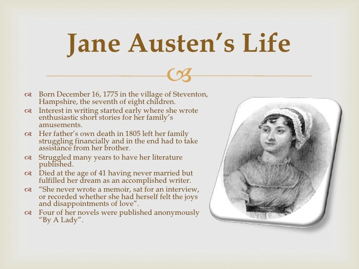 jane austens life and work essay Essay contest jasna conducts an annual student essay contest to foster the study and appreciation of jane austen's work several hundred students compete for scholarship awards each year the contest is open to students world -wide in three divisions: high school: students and home-schooled students enrolled at.