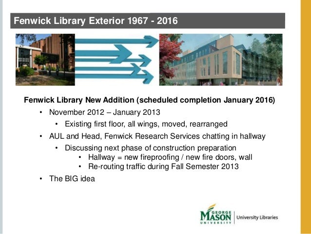 Fenwick Library Exterior 1967 - 2016  Fenwick Library New Addition (scheduled completion January 2016)  • November 2012 – ...