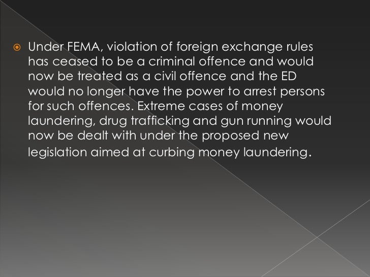 fema fera It was passed in the winter session of parliament in 1999, replacing the foreign exchange regulation act (fera) foreign exchange management act,.