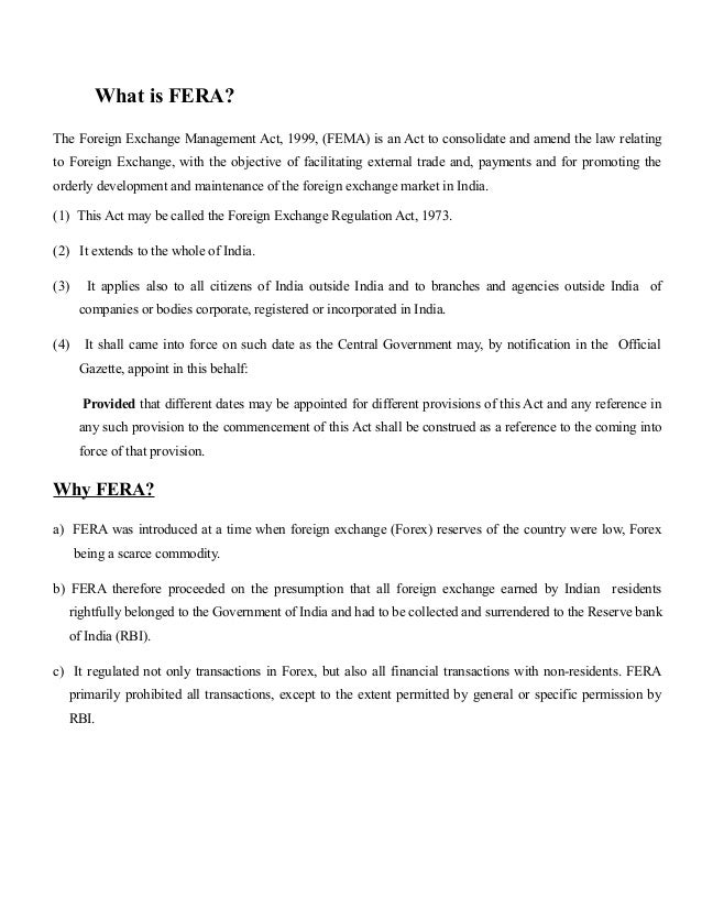 Fera  Fema What Is Ferathe Foreign Exchange Management Act